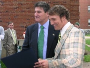 Gov. Manchin visited the &quot;We Are Marshall&quot; set by Hodges Hall where Matthew McConaughey played Coach Lengyel. 